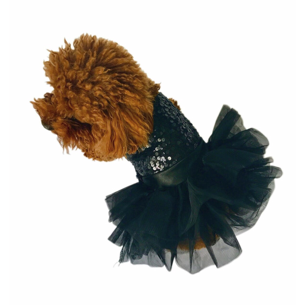 The Dog Squad Fufu Tutu Dog Dress, Black Sequins, XX-Small