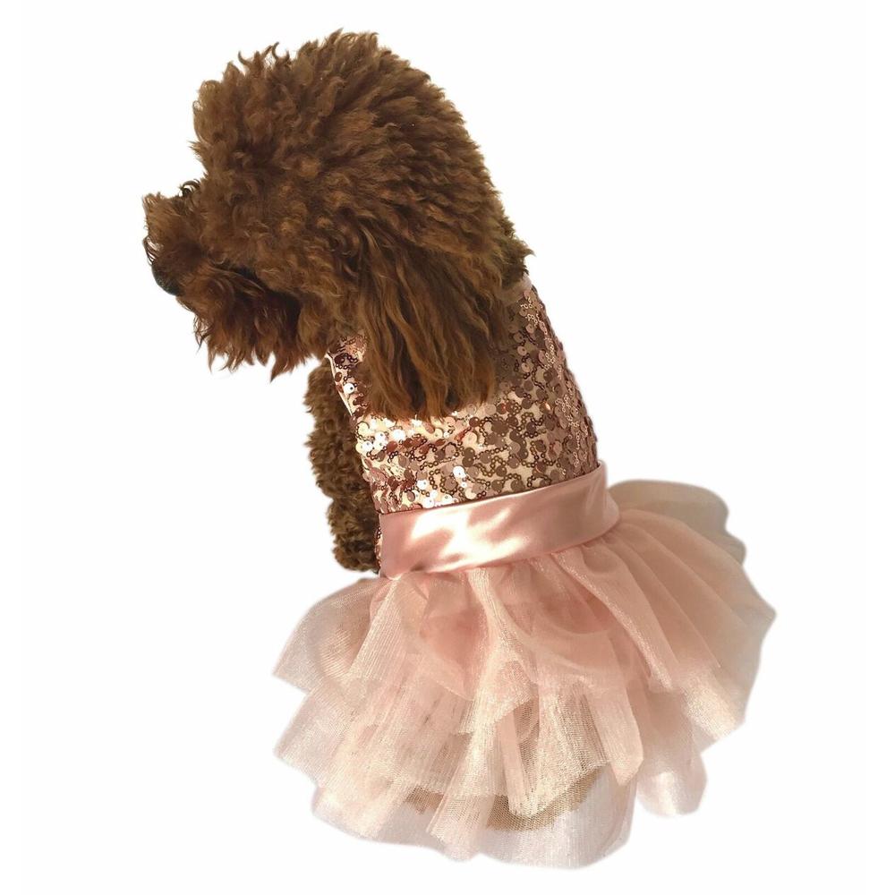 The Dog Squad Fufu Tutu Dog Dress, Rose Gold Sequins, Large