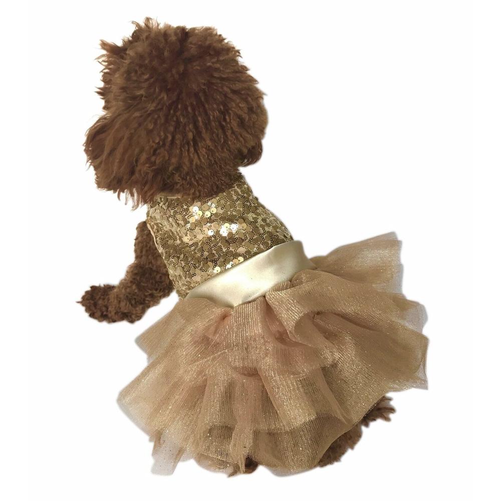 The Dog Squad Fufu Tutu Dog Dress, Lt. Gold Sequins, XX-Small