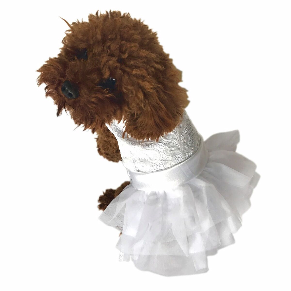 The Dog Squad Fufu Tutu Dog Dress, White Wedding, XX-Small