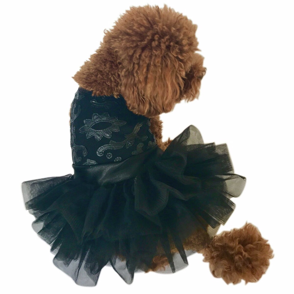 The Dog Squad Fufu Tutu Dog Dress, Rocker Applique Black, X-Small