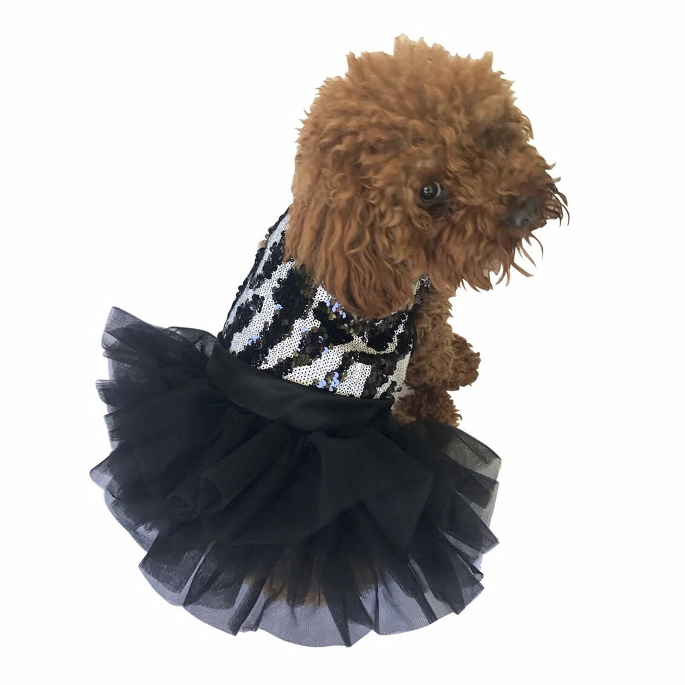 The Dog Squad Fufu Tutu Dog Dress, Zebra Sequins, Small