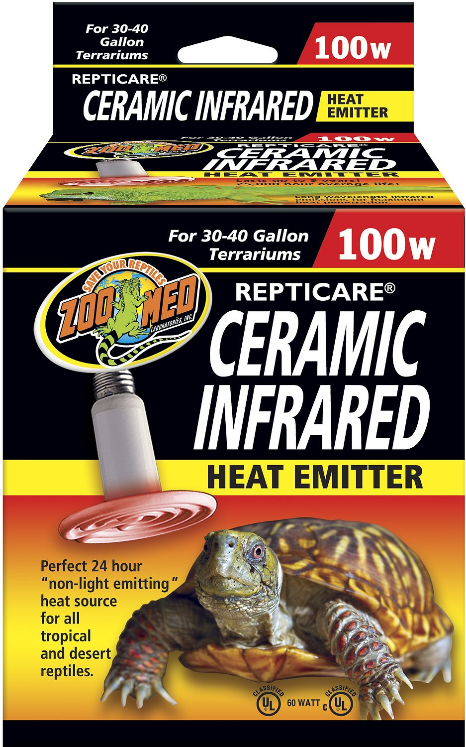 Zoo Med Repticare Ceramic Infrared Reptile Heater, 100-watt