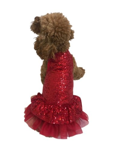 The Dog Squad Dress, Time to Shine Sequin Red, X-Small