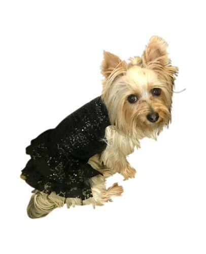 The Dog Squad Dress, Time to Shine Sequin Black, Small