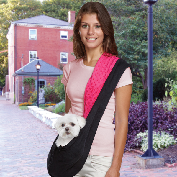 Pet Travel Products  Reversible Sling Dog Carrier, Black/Pink