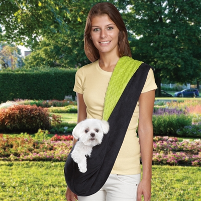 Pet Travel Products  Reversible Sling Dog Carrier, Black/Green