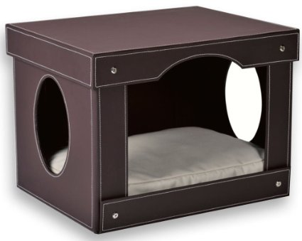 Travelin K9 Decorative Leather Cat Hut Bed, Brown Faux
