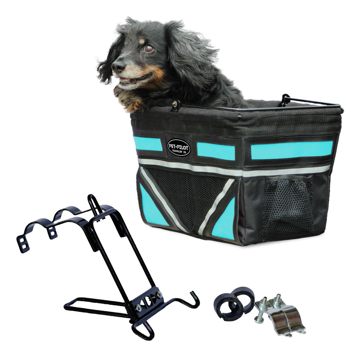 Travelin K9 2018 Pet-Pilot Bike Basket for Dogs & Cats, Neon Blue