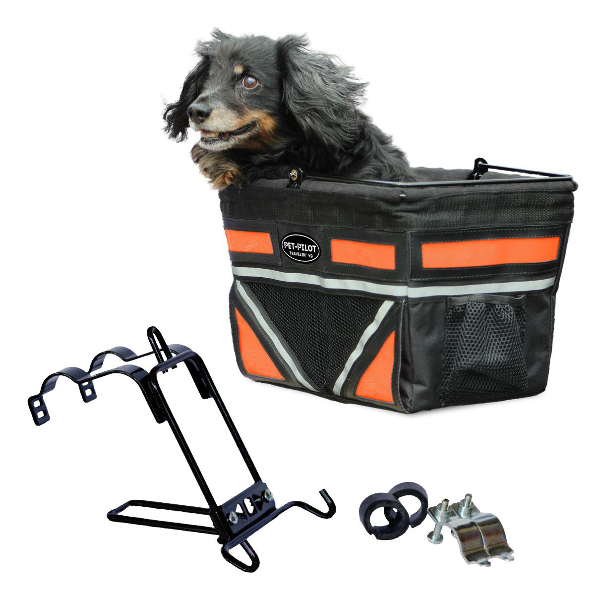 Travelin K9 2018 Pet-Pilot Bike Basket for Dogs & Cats, Neon Orange