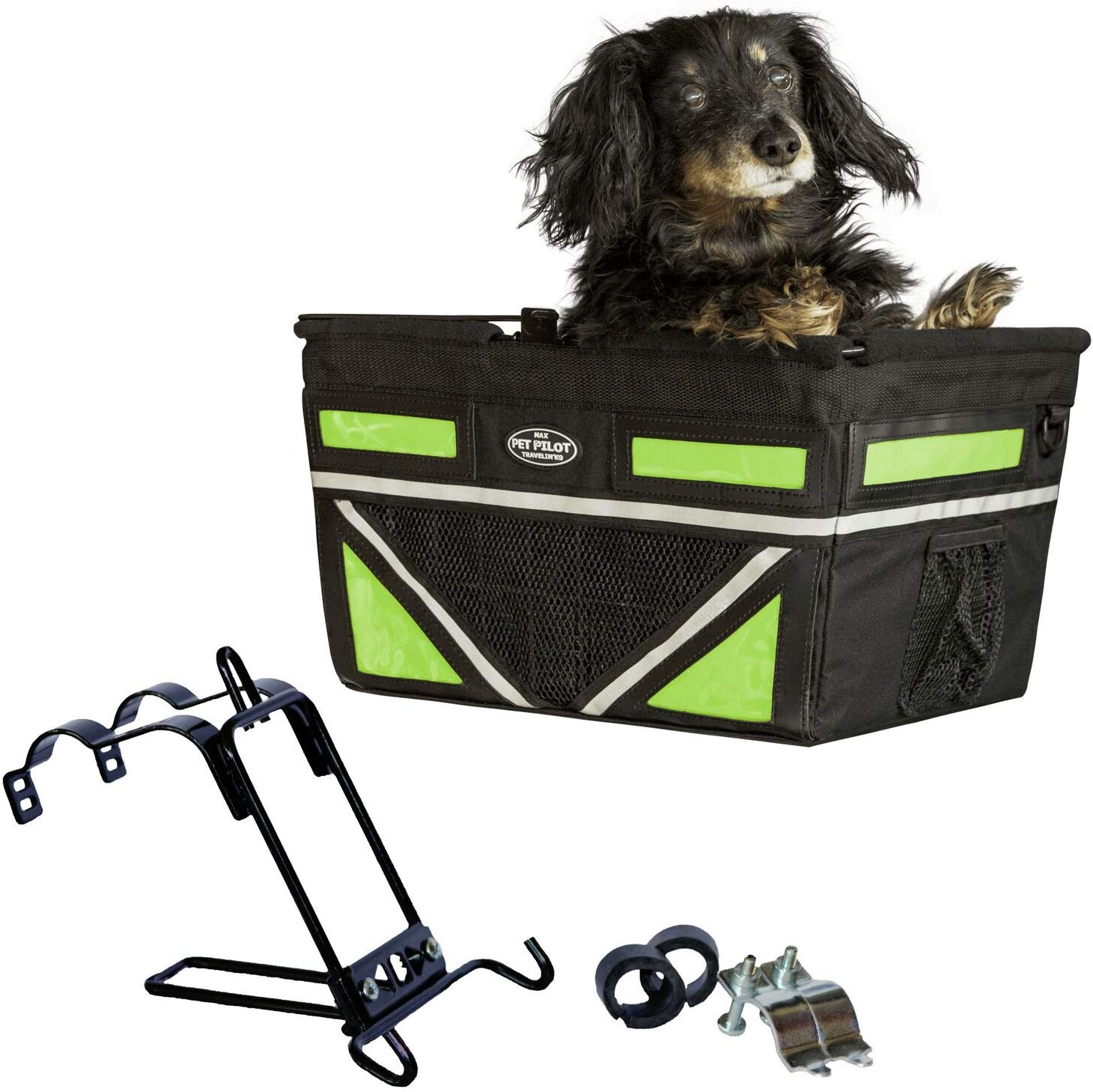 Travelin K9 2019 Pet-Pilot MAX Large Bike Basket for Dogs & Cats, Neon Green