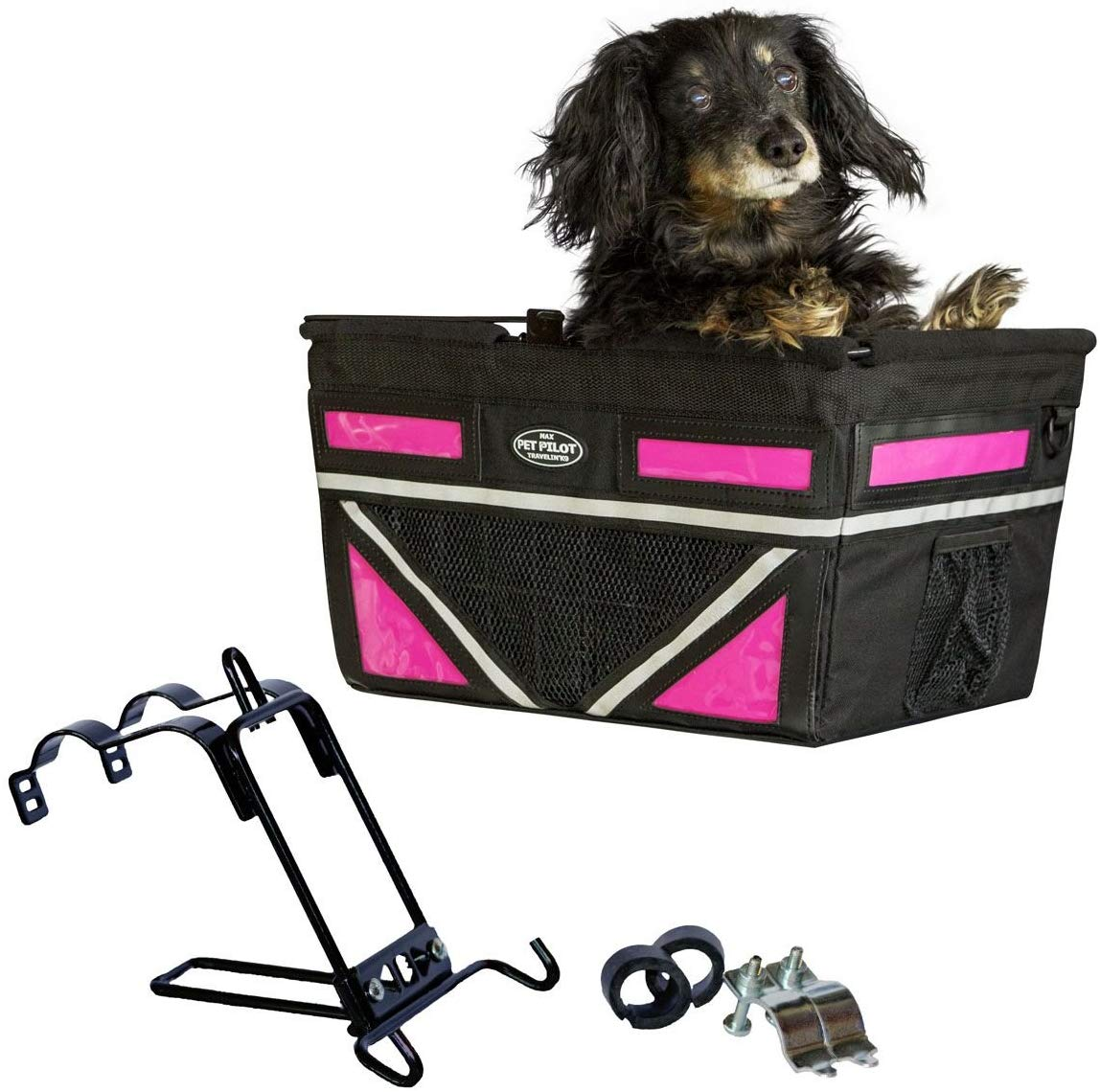 Travelin K9 2019 Pet-Pilot MAX Large Bike Basket for Dogs & Cats, Neon Pink