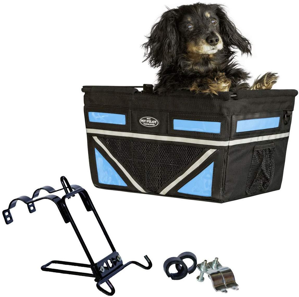 Travelin K9 2019 Pet-Pilot MAX Large Bike Basket for Dogs & Cats, Neon Blue