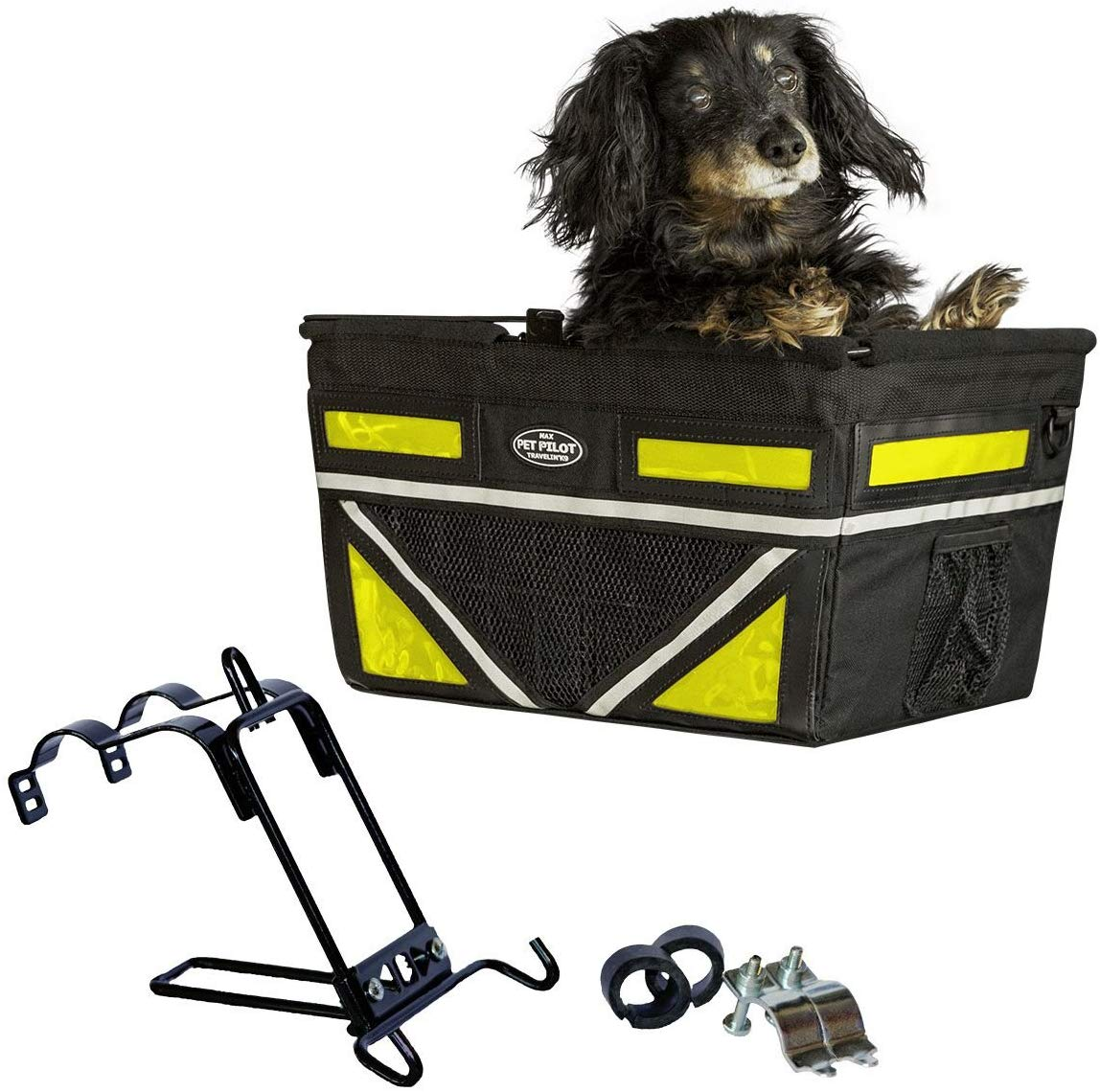 Travelin K9 2019 Pet-Pilot MAX Large Bike Basket for Dogs & Cats, Neon Yellow