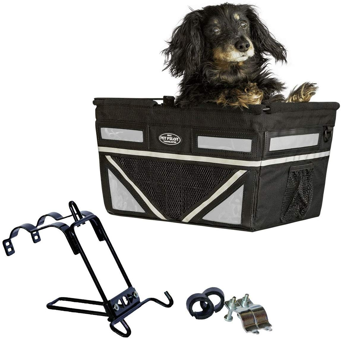 Travelin K9 2019 Pet-Pilot MAX Large Bike Basket for Dogs & Cats, Silver