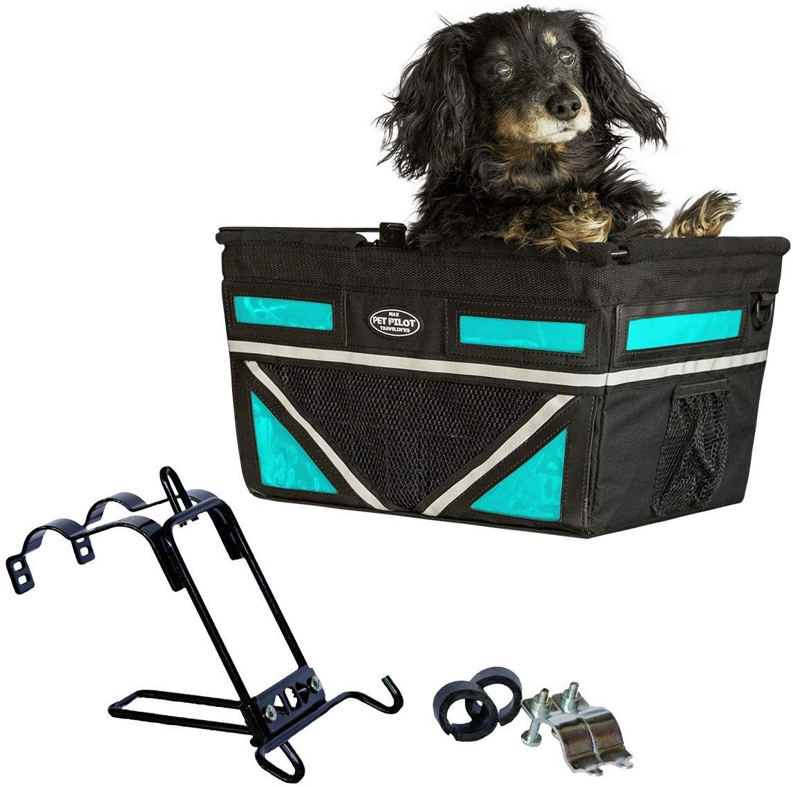 Travelin K9 2019 Pet-Pilot MAX Large Bike Basket for Dogs & Cats, Turquoise