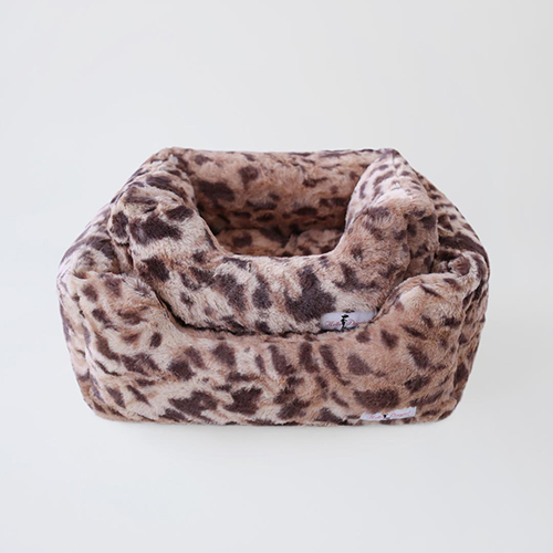 Hello Doggie Animal Print Luxe Dog Bed, King Leopard, Large