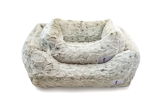 Hello Doggie Animal Print Luxe Dog Bed, Pearl Leopard, Large