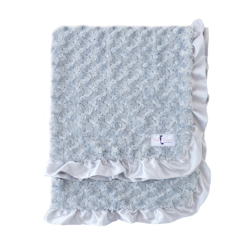 Hello Doggie Baby Ruffle Dog Blanket, Silver, Large