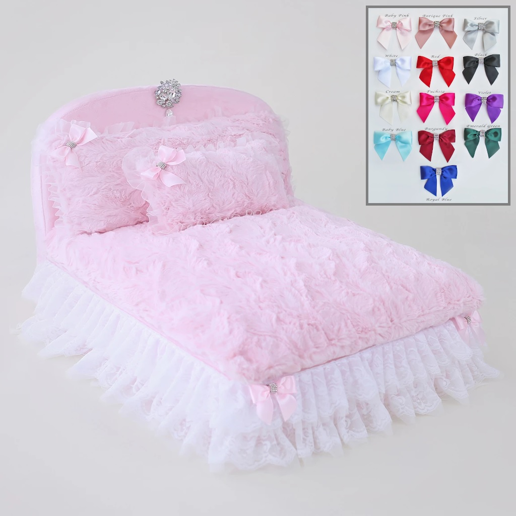 Hello Doggie The Enchanted Nights Collections Dog Bed, Baby Doll with Baby Pink Bow