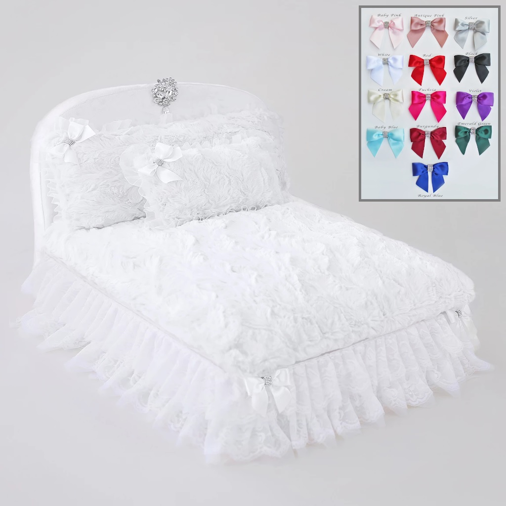Hello Doggie The Enchanted Nights Collections Dog Bed, Snow White with Royal Blue Bow