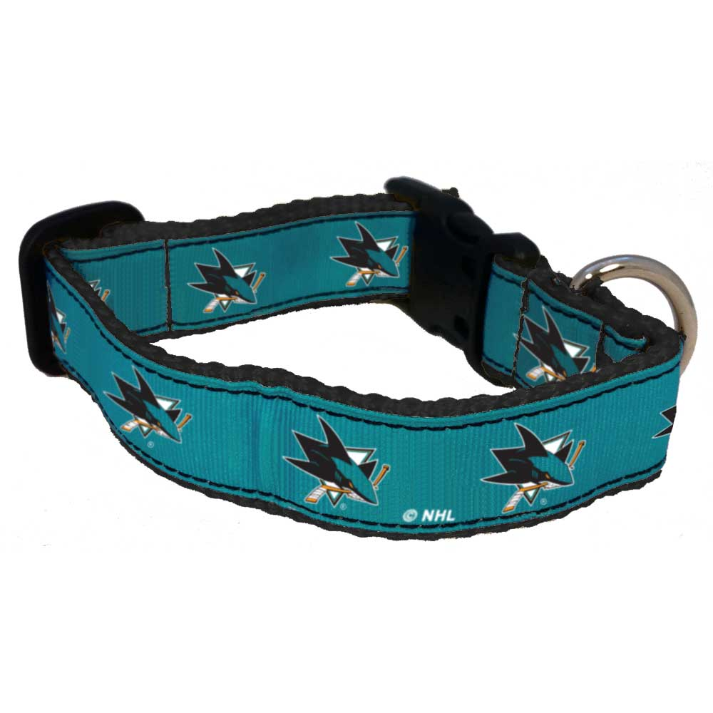 All Star Dogs San Jose Sharks Ribbon Dog Collar, Small