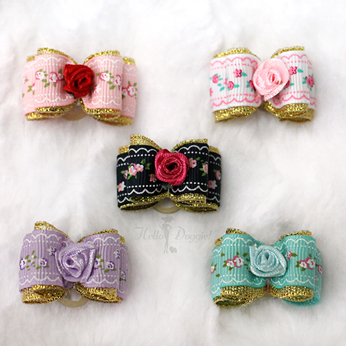 Hello Doggie Hair Bow, Flower Bow, Mint