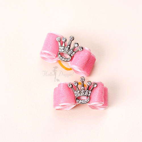 Hello Doggie Hair Bow, Crystal Crown Bow, Pink
