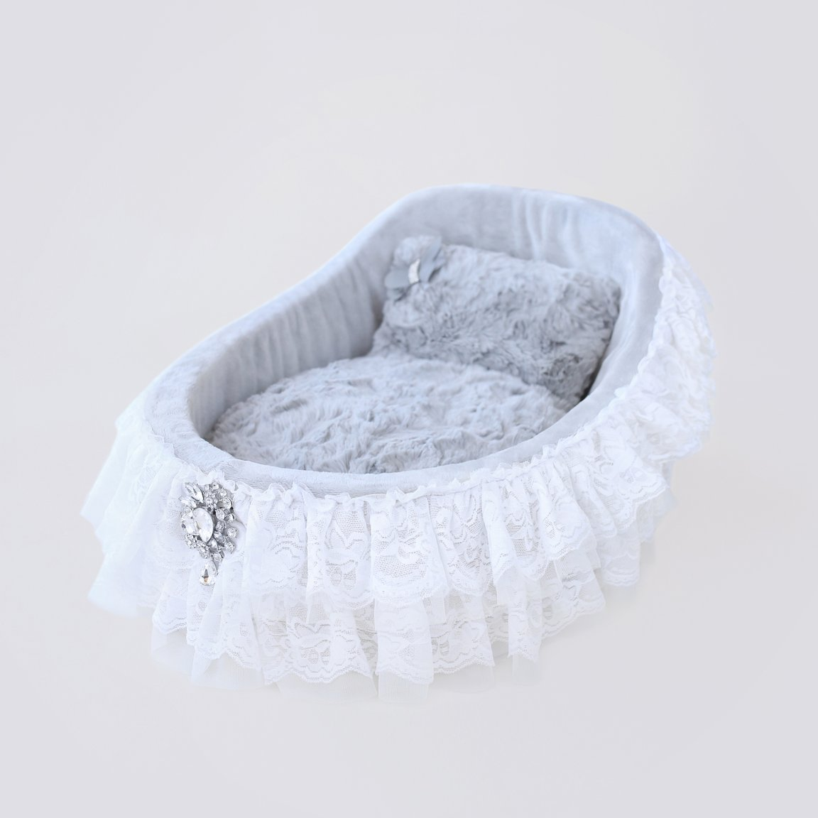 Hello Doggie Crib Collection Dog Bed, Sterling