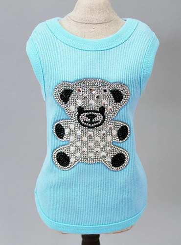 Hello Doggie Teddy Bear Ribbed Tank, Aqua, XX-Small