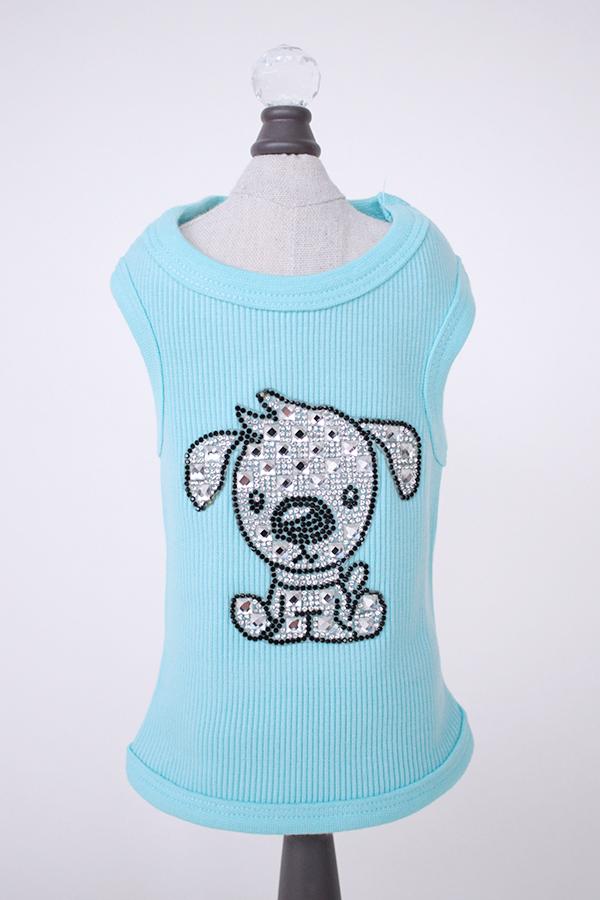 Hello Doggie Tank Top, Blue Doggie, X-Small