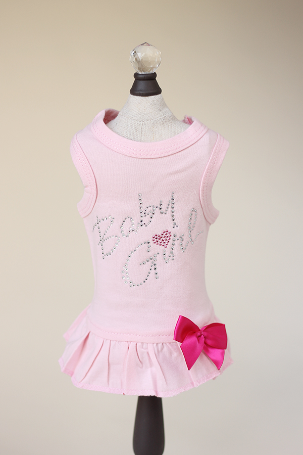 Hello Doggie Dress, Baby Girl Pink, X-Small