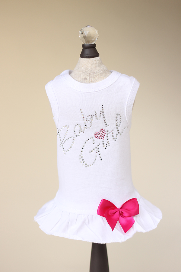 Hello Doggie Dress, Baby Girl White, X-Small