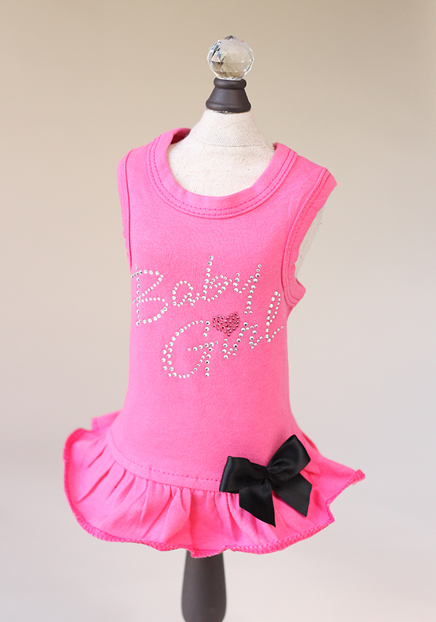 Hello Doggie Dress, Baby Girl Fuchsia, X-Small