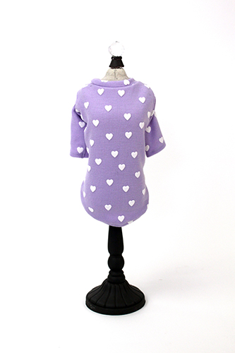 Hello Doggie T-Shirt, Heart Purple with White Hearts, X-Small