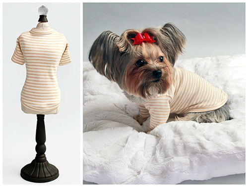 Hello Doggie T-Shirt, Baby Beige Stripes, XX-Small