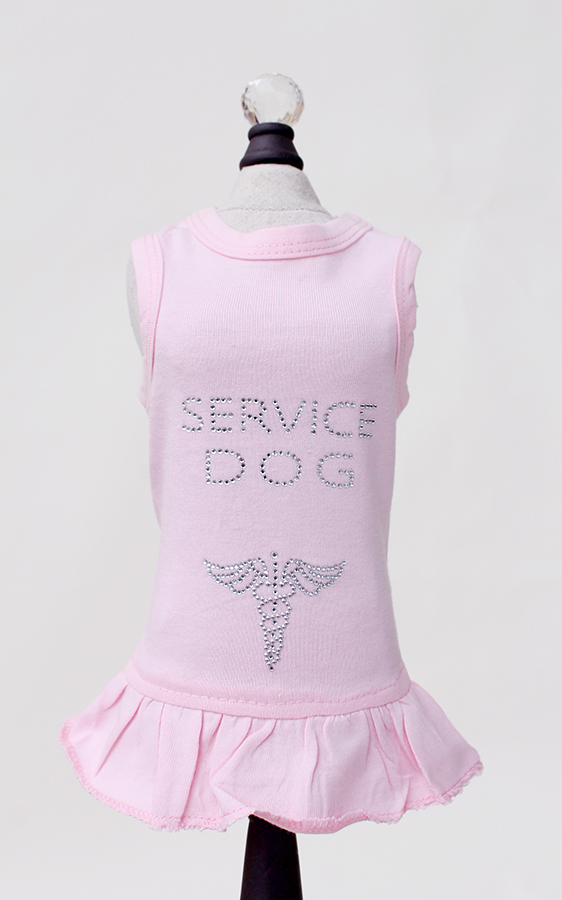 Hello Doggie Dress, Service Dog Pink, X-Small