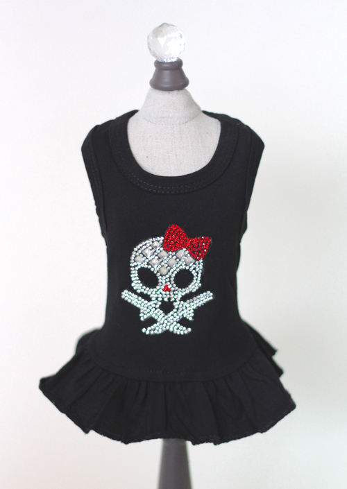 Hello Doggie Dress, Black Molly Skull with Red Bow, X-Small