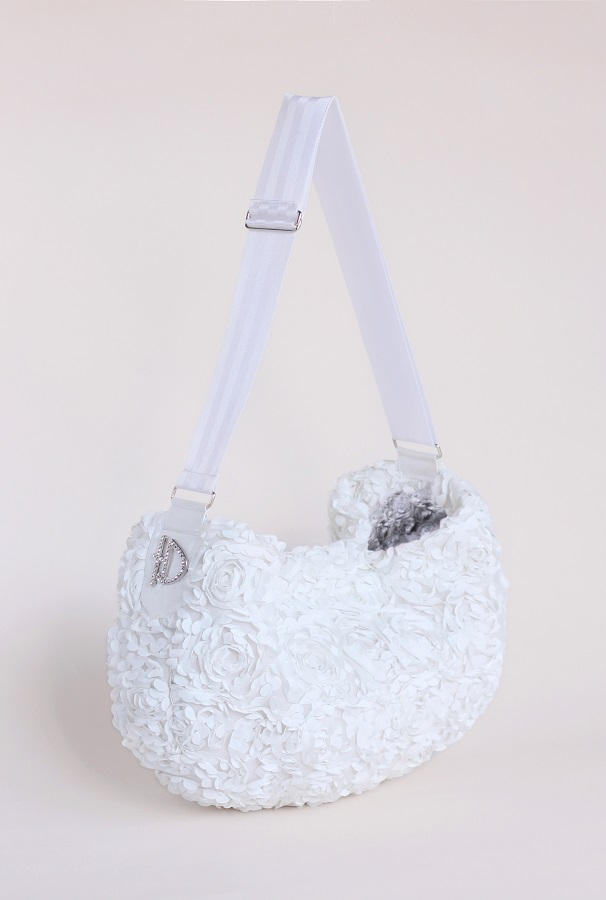 Hello Doggie Victorian Luxury Sling Bag, White