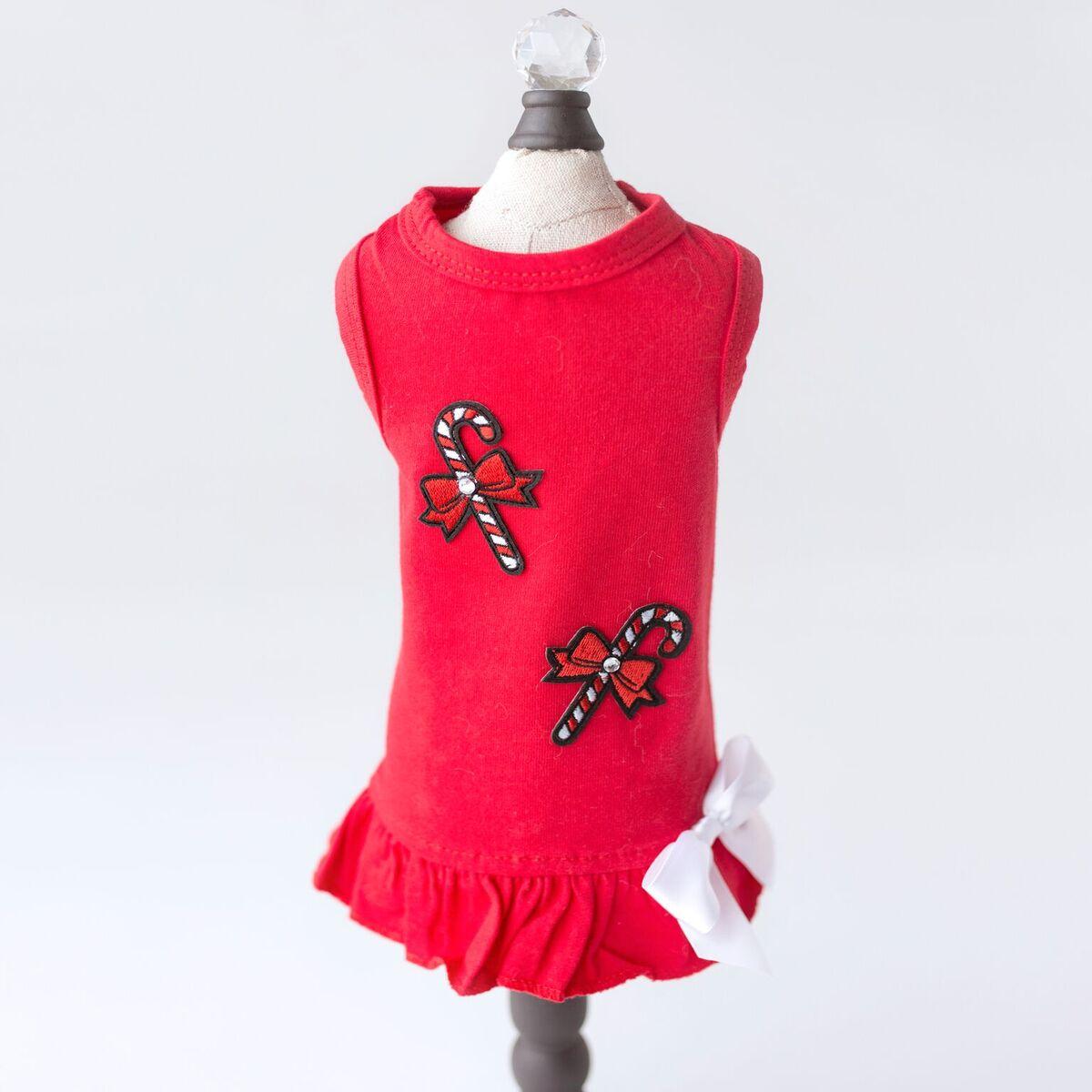 Hello Doggie Dress, Candy Cane, X-Small