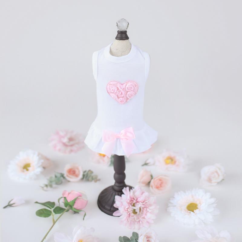 Hello Doggie Dress, Puff Heart Pink, X-Small