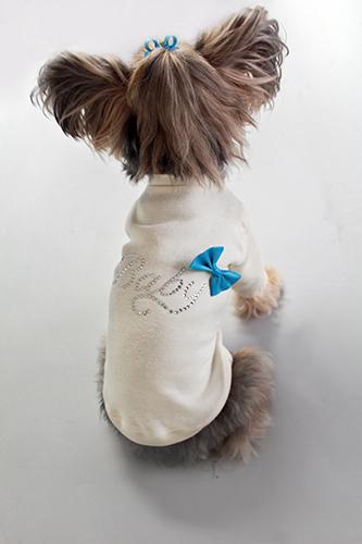 Hello Doggie T-Shirt, Baby Blue Bow, Medium