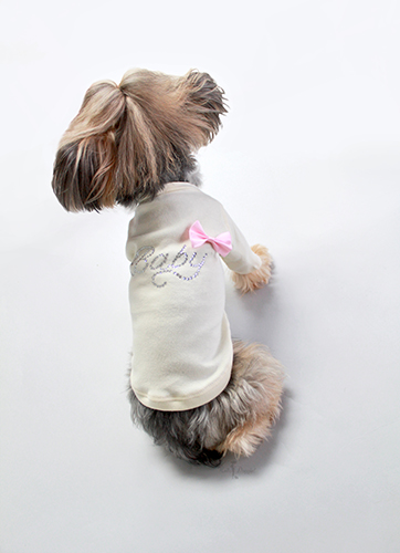 Hello Doggie T-Shirt, Baby Pink Bow, X-Small