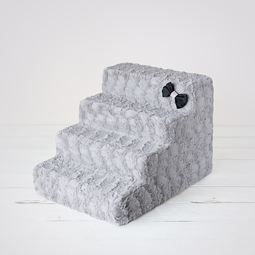 Hello Doggie Luxury Pet Stairs 4 Step, Dove Grey