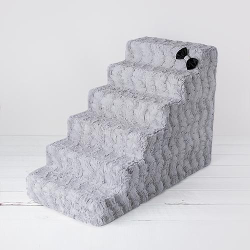 Hello Doggie Luxury Pet Stairs 6 Step, Dove Grey