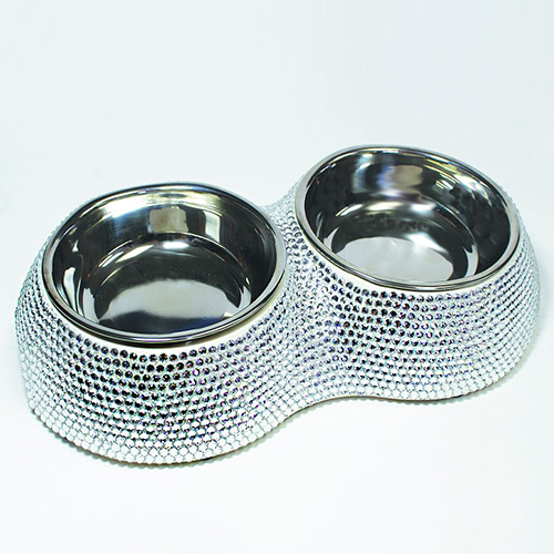 Hello Doggie Crystal Dining Bowls, Silver