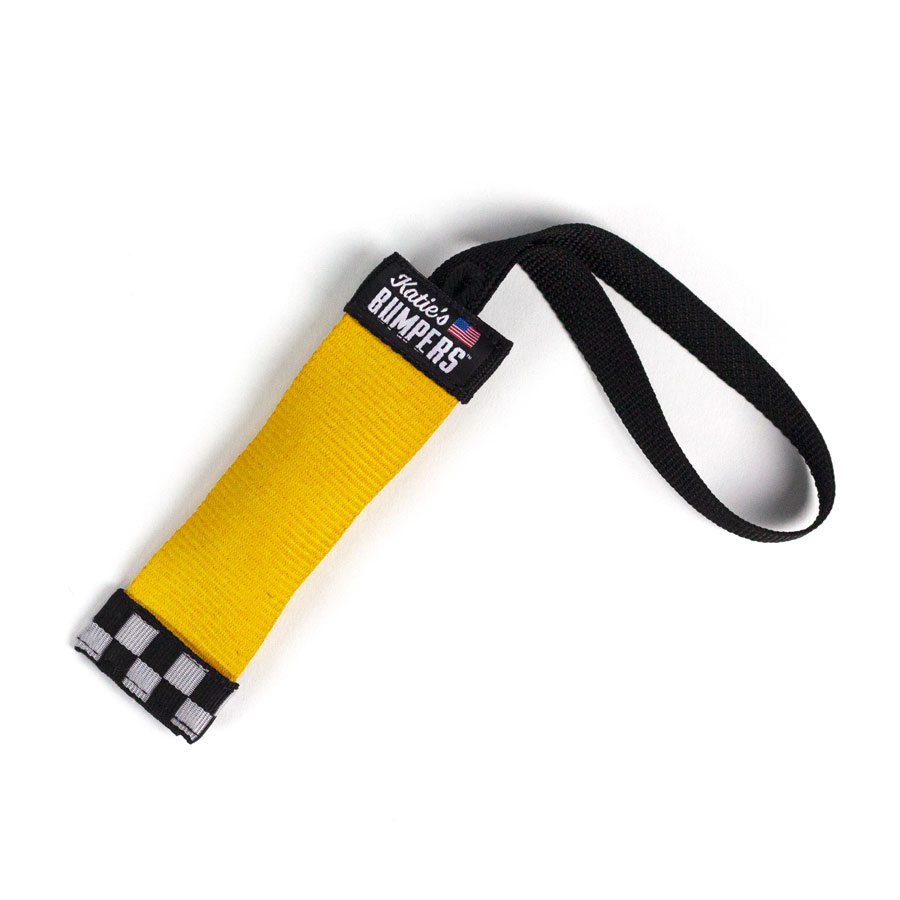 Katie's Bumpers Sqwuggie Firehouse Dog Toy, Yellow, 7-in
