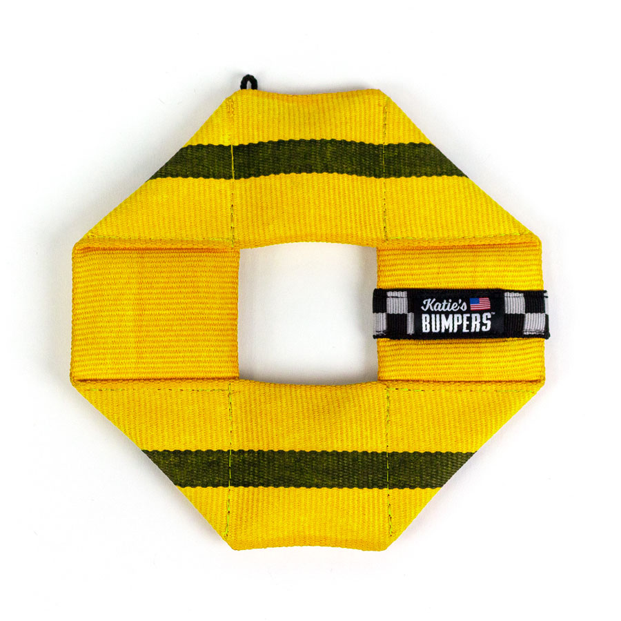 Katie's Bumpers Frequent Flyer Square Firehouse Dog Toy, Yellow