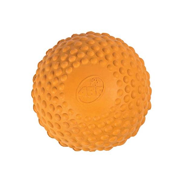 4BF Natural Rubber Bumpy Ball Dog Toy, Orange, Medium
