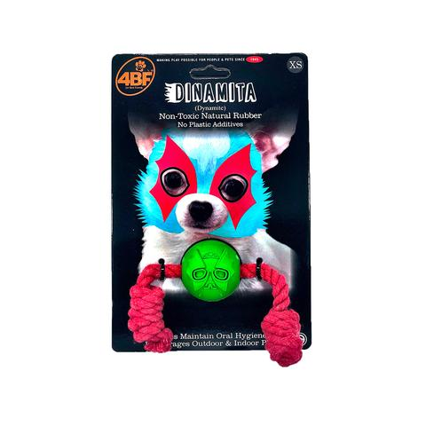 4BF Mask Dinamita (Dynamite) Rubber Ball with Rope Dog Toy, X-Small